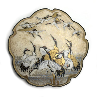 Satsuma Shimazu Cranes Brooch Signed Art Deco, 1920s to 1930s