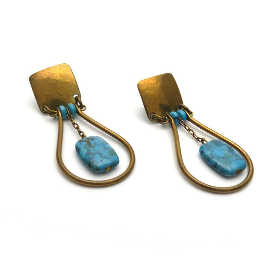 Signed MB SF Modernist Bronze Turquoise Earrings Vintage, 1930s to 1980s