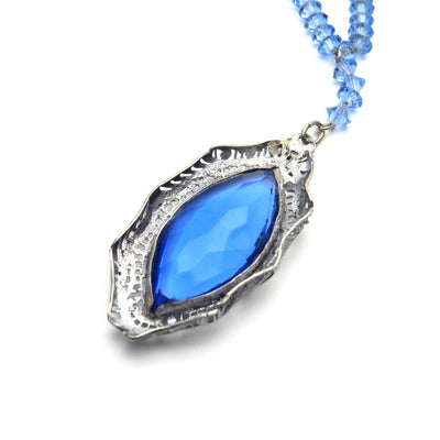 Silver Filigree Blue Crystals Edwardian Lavalier Necklace Edwardian, 1901 to 1920s