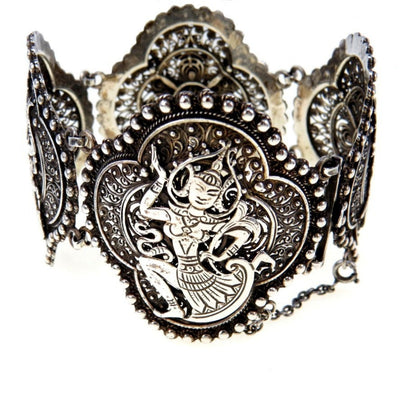 Silver Filigree Panels Bracelet Dancing Goddess Vintage, 1930s to 1980s
