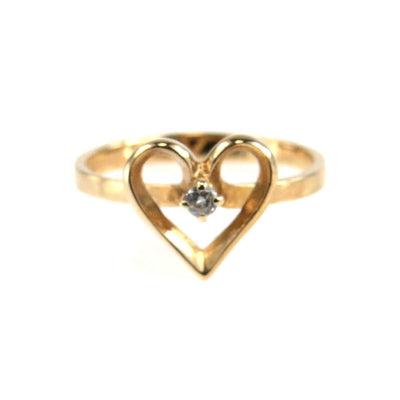 Solitaire Diamond Heart Ring Vintage, 1930s to 1980s