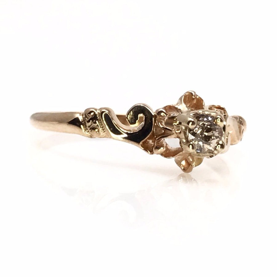 Victorian Diamond 14k Rose Gold Ring Victorian, 1830s to 1900s