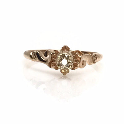 Solitaire diamond ring 14k rose gold Art Deco, 1920s to 1930s