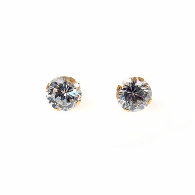 Solitaire Post Earrings in 14k Gold 7mm CZ Vintage, 1930s to 1980s