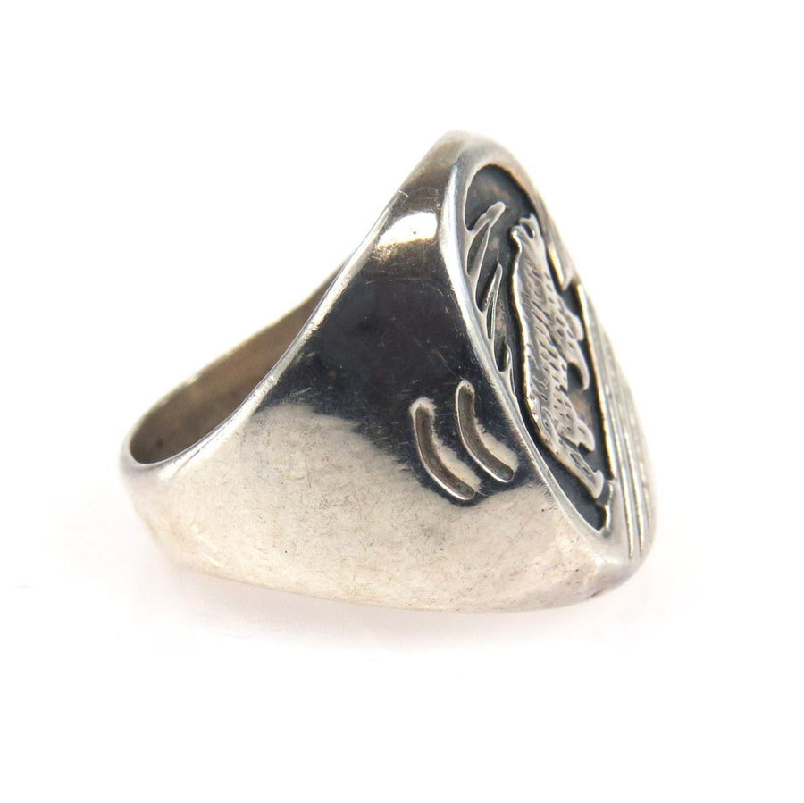 Southwestern Carved Bear Signet Ring Vintage, 1930s to 1980s
