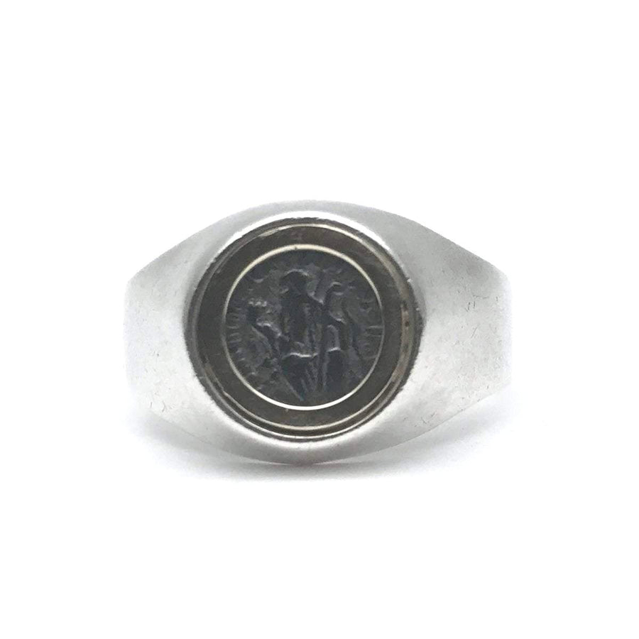 St Benedict Medal Sterling and Gold Signet Ring Vintage, 1930s to 1980s