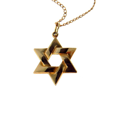 Star of David Pendant Necklace Gold Fill Vintage, 1930s to 1980s