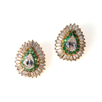 Statement Emerald CZ Pear Halo Earrings Contemporary, Post 1990