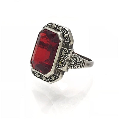 Sterling Garnet Glass Marcasite Art Deco Ring Art Deco, 1920s to 1930s