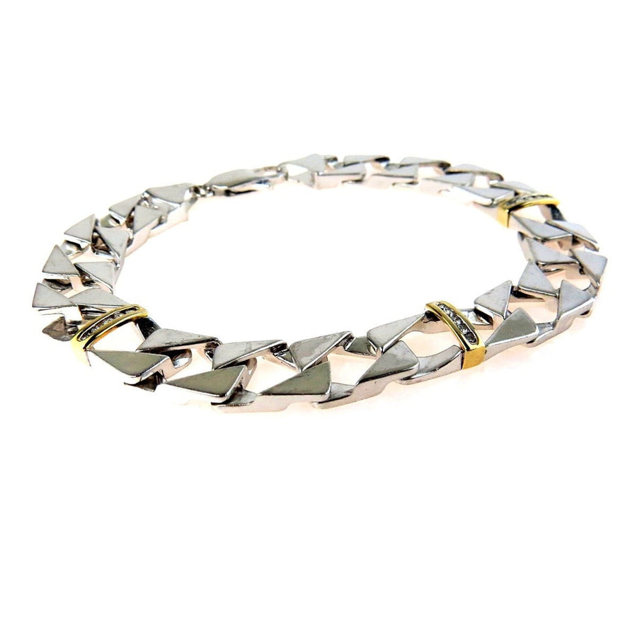 Sterling Silver 10k Gold Moissanite Men's Bracelet Vintage, 1930s to 1980s