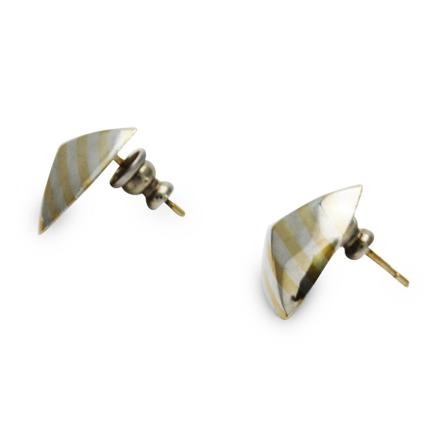 Sterling Silver 14k Gold Modernist Stud Earrings Vintage, 1930s to 1980s