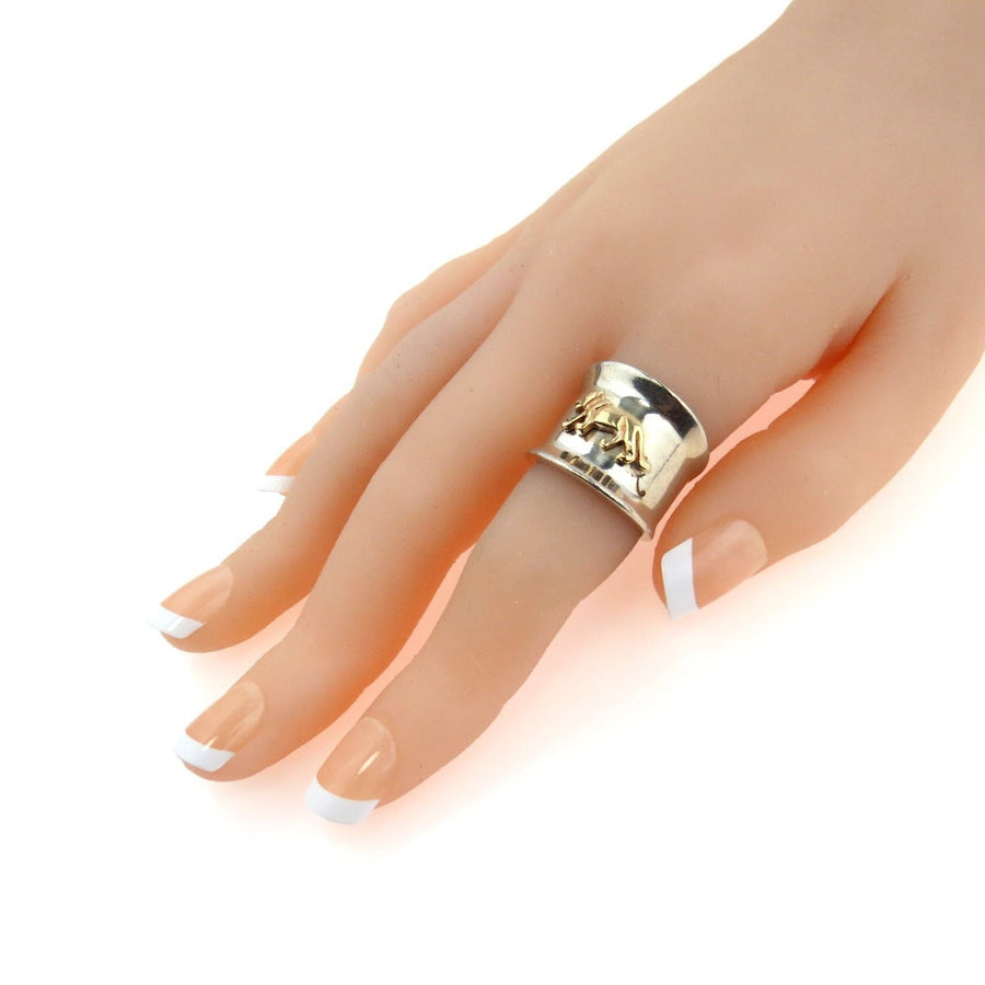 97251d89329 Sterling Silver 14k Gold Panther Ring Extra Wide Band Vintage