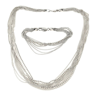 Sterling Silver Ball Chain Multi Strand Necklace and Bracelet Set Contemporary, Post 1990