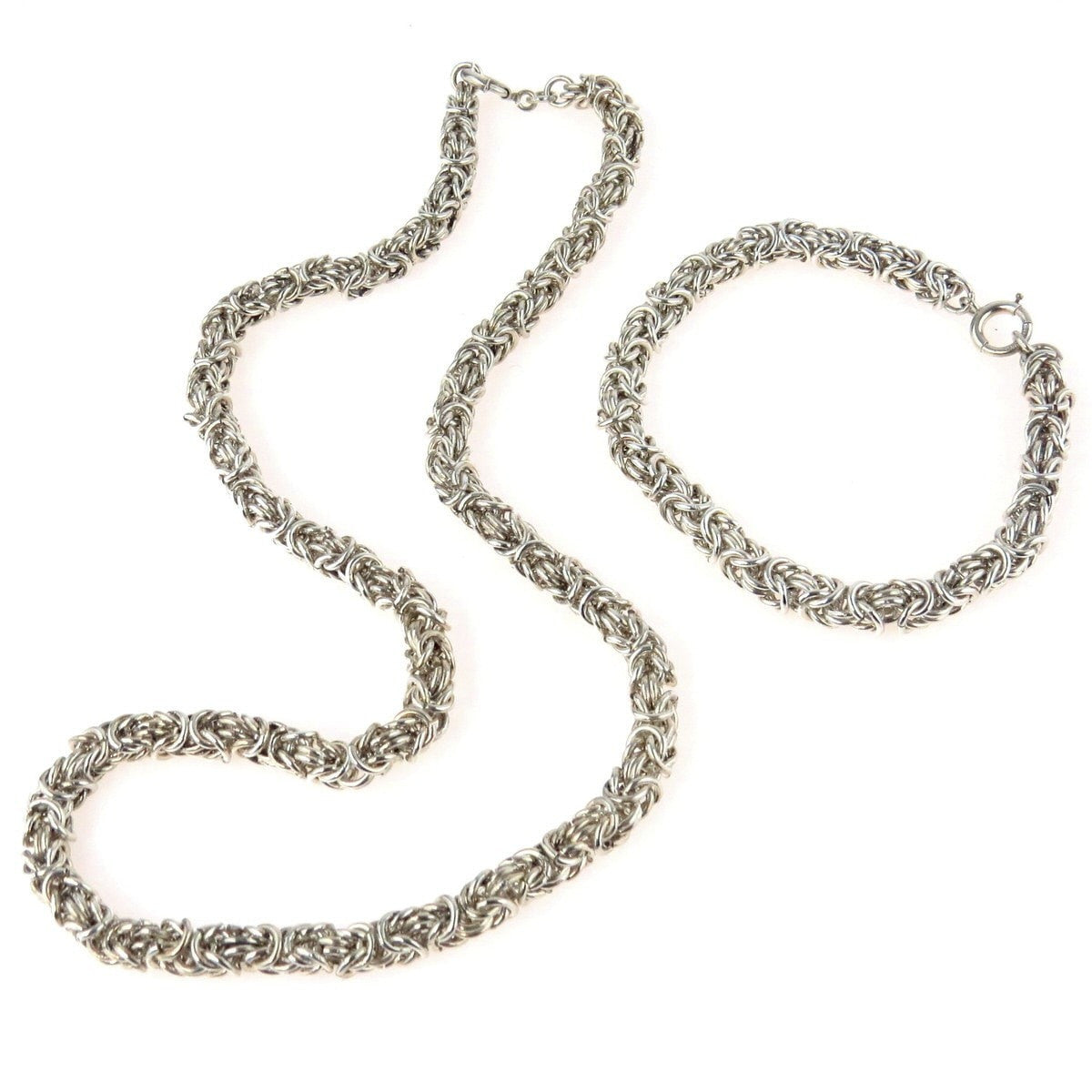 silver and sterling preadored products vintage chain to set bracelet byzantine necklace