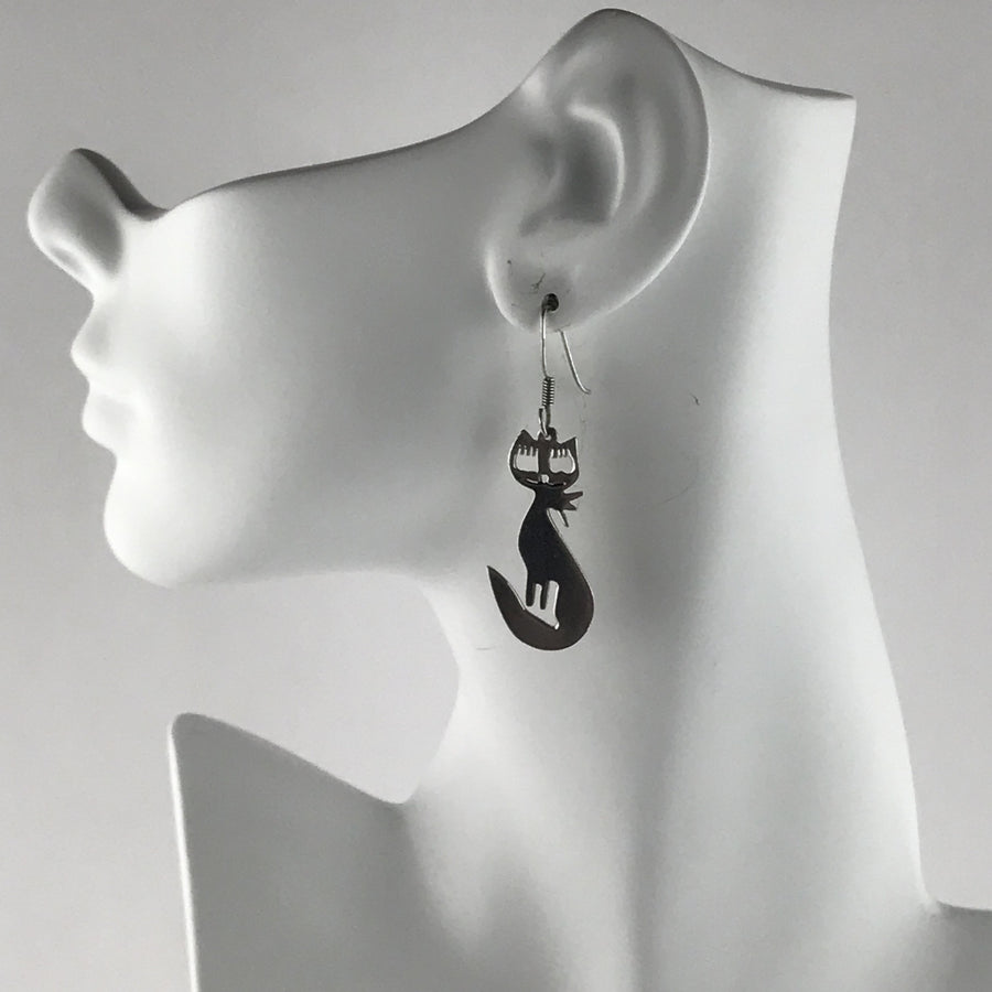 Sterling Silver Cat Silhouette Earrings Set PreAdored™