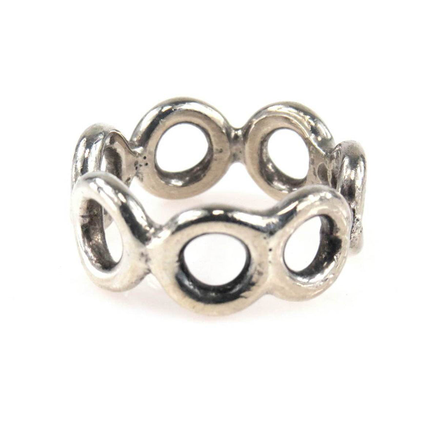 Sterling Silver Circles Band Ring Vintage, 1930s to 1980s