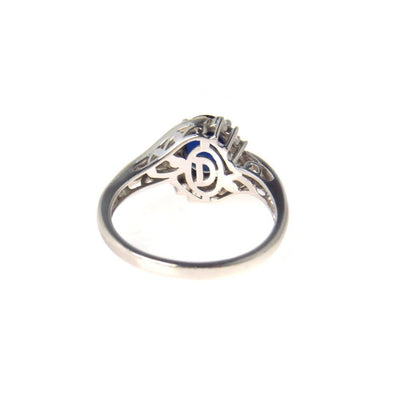 Sterling Silver Gold Sapphire Solitaire with Diamond Accents Ring Vintage, 1930s to 1980s