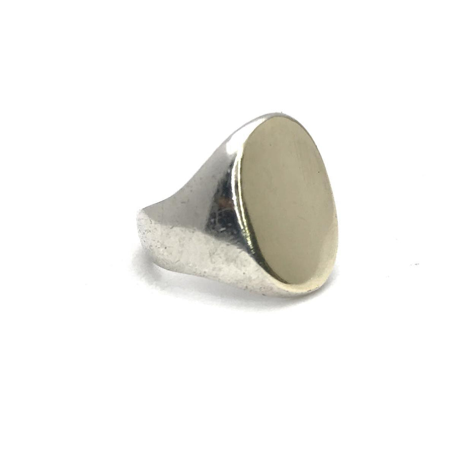 Sterling Silver Gold Signet Ring Vintage, 1930s to 1980s