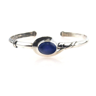 Sterling Silver Lapis Lazuli Studio Made Cuff Vintage, 1930s to 1980s