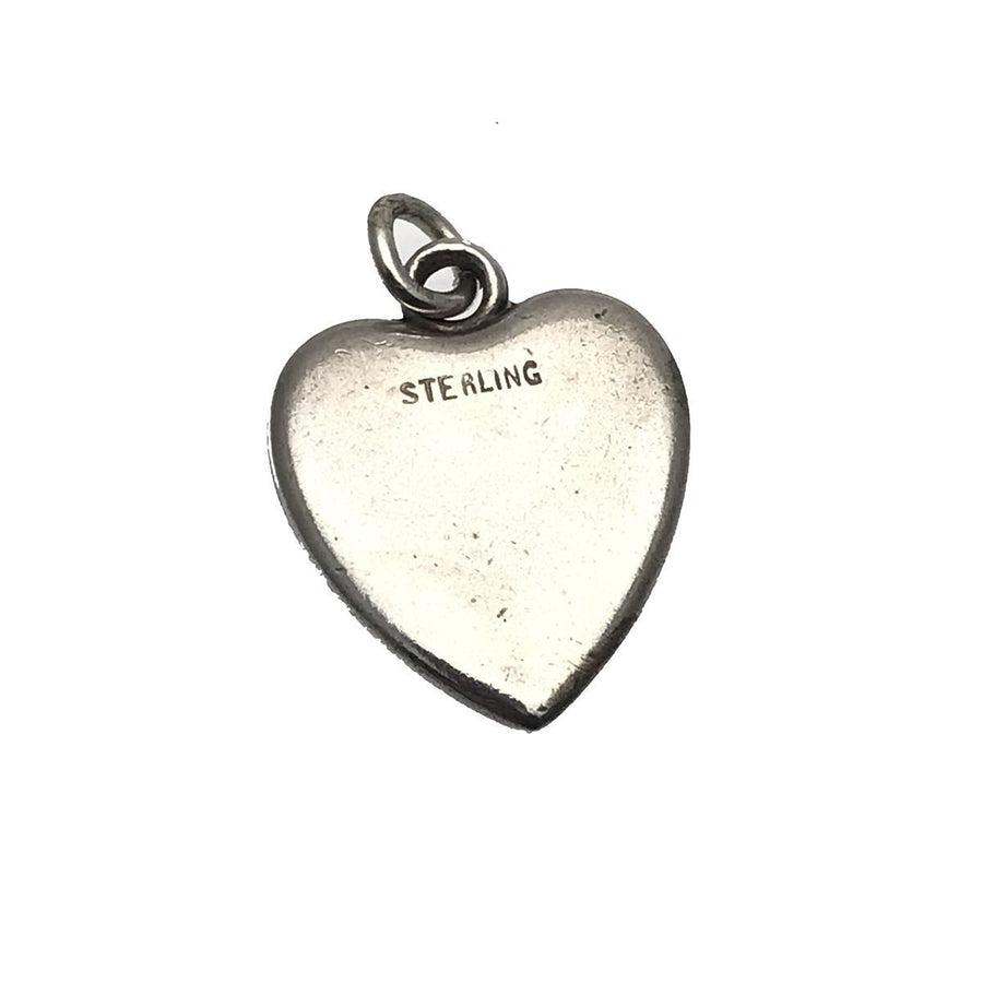 Sterling Silver Victorian Puffy Heart Charm Initials AC Victorian, 1830s to 1900s