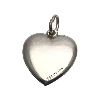 Sterling Silver Victorian Puffy Heart Charm Initials WI or WJ Victorian, 1830s to 1900s