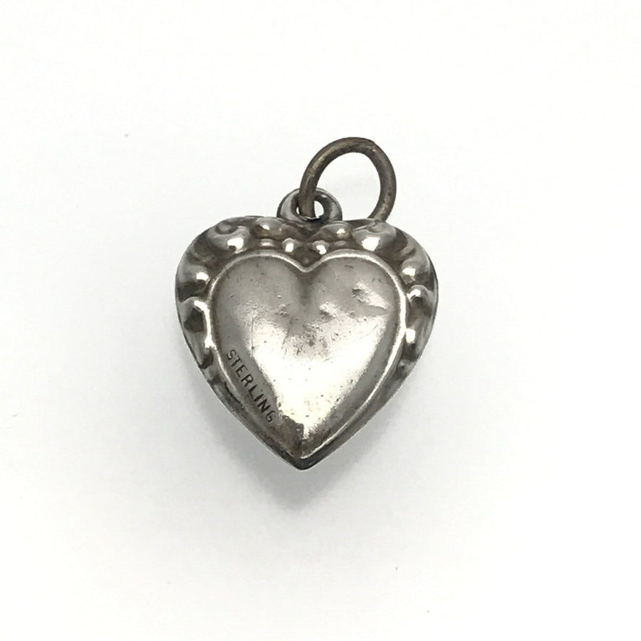 Sterling Silver Victorian Puffy Heart Charm Set with Garnet Victorian, 1830s to 1900s