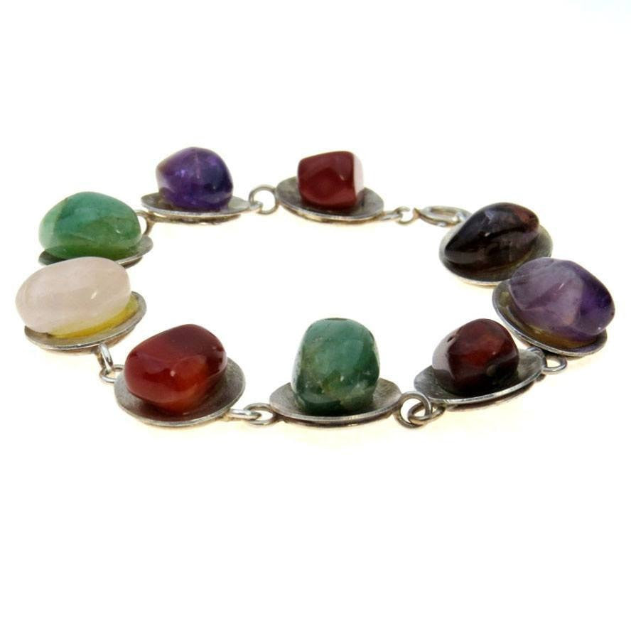 Stone Pebbles Modernist Sterling Bracelet Vintage, 1930s to 1980s