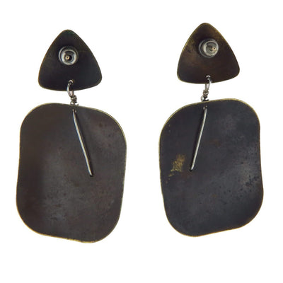 Studio Made Oxidized Brass Sterling Post Modern Earrings Vintage, 1930s to 1980s