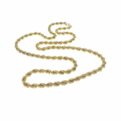 Thick Gold Rope Chain Necklace Vintage, 1930s to 1980s
