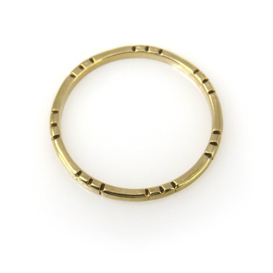 Thin Stackable Solid Gold Band Ring with Patterned Profile