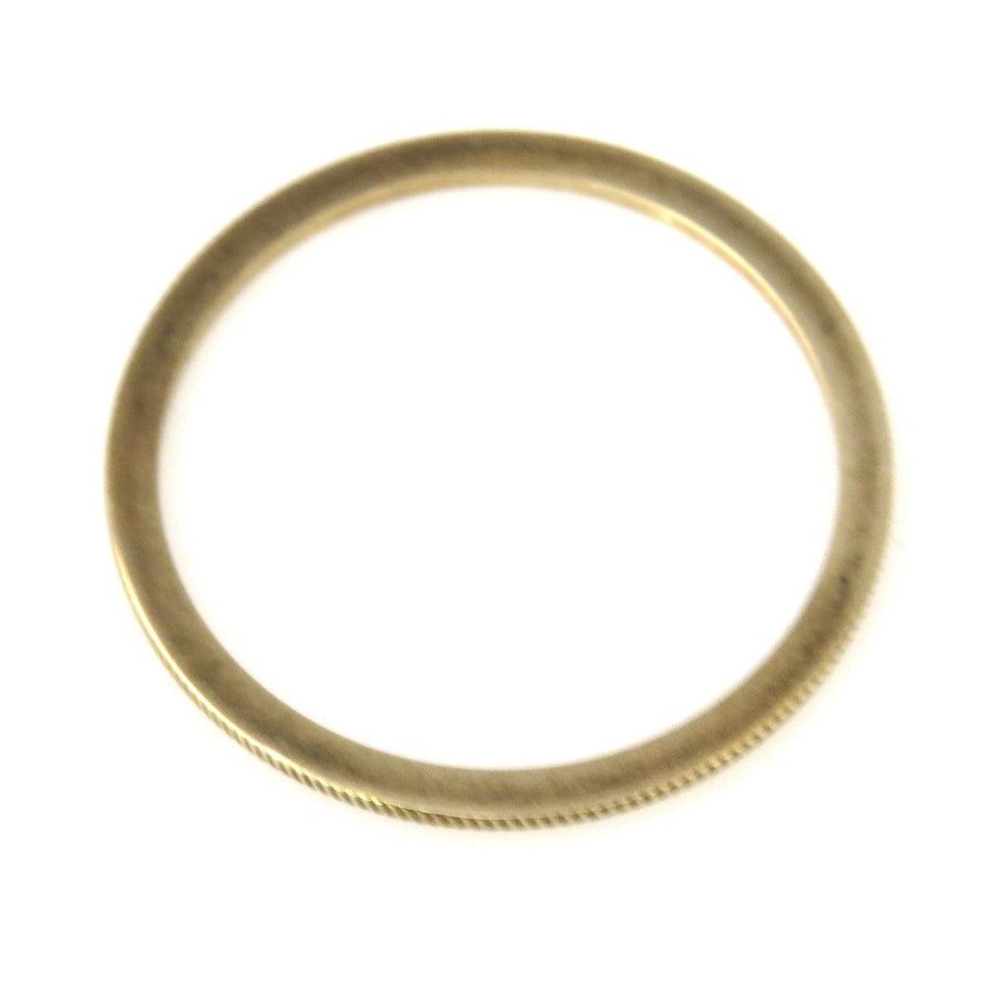 Thin Stackable Solid Gold Band Ring with Ridged Profile