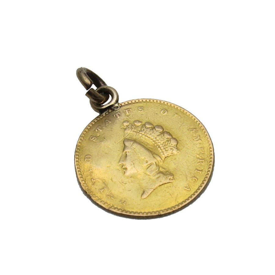 Three Dollar Indian Princess Gold Coin Victorian Love Token Victorian, 1830s to 1900s