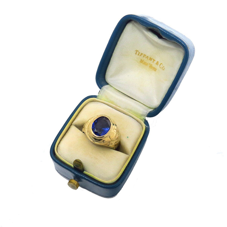 Tiffany & Co Art Nouveau Gold Sapphire Signet Ring in Original Box