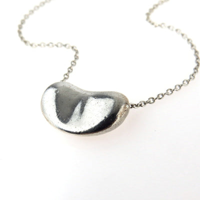 Tiffany & Co Elsa Peretti Sterling Silver Bean Necklace Vintage, 1930s to 1980s