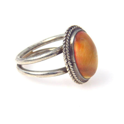 Tiger Eye Cabochon Sterling Ring Vintage, 1930s to 1980s