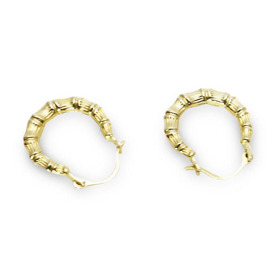 Tiny Bamboo 14k Gold Hoop Earrings Vintage, 1930s to 1980s