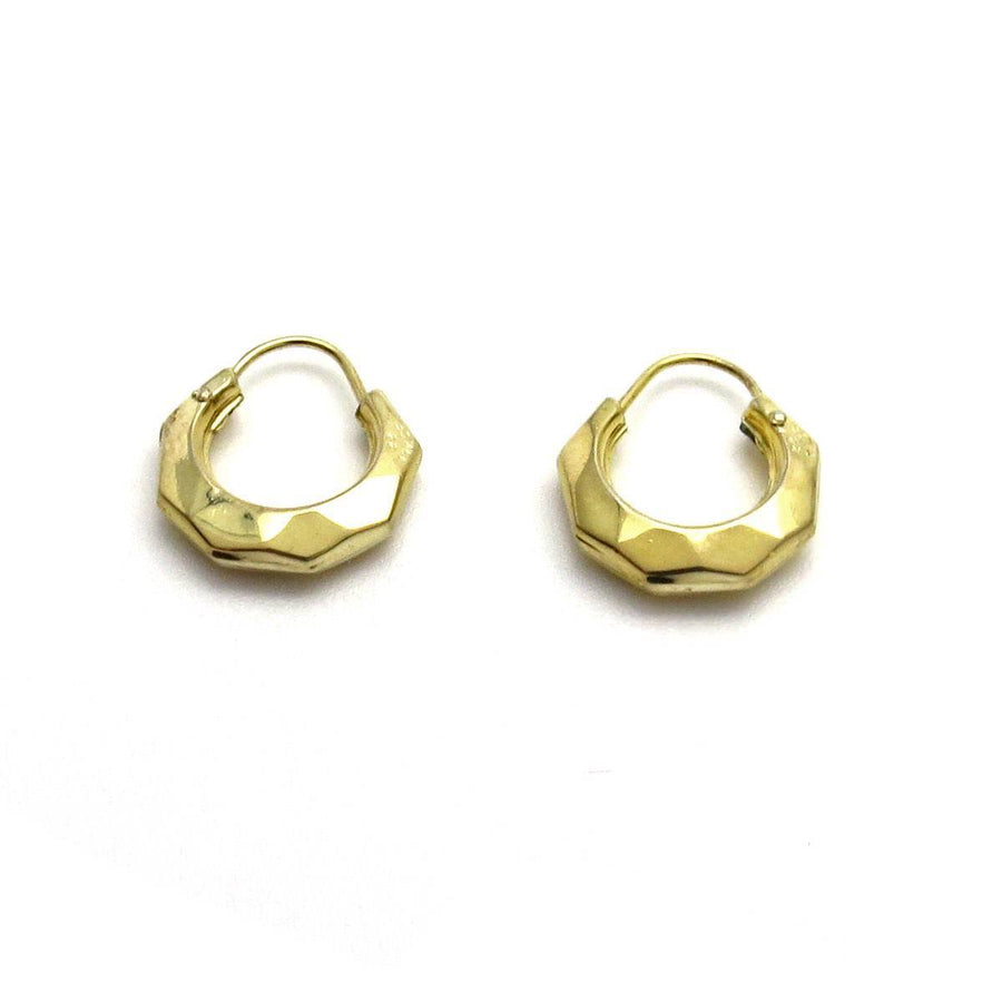 Tiny Faceted 14k Gold Hoop Earrings Vintage, 1930s to 1980s