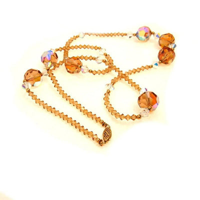 "Topaz Crystal 14k Gold Accents Necklace 29"" Long Vintage, 1930s to 1980s"