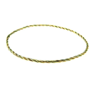 Tri Color 14k Gold Twisted Bangle Bracelet Victorian, 1830s to 1900s