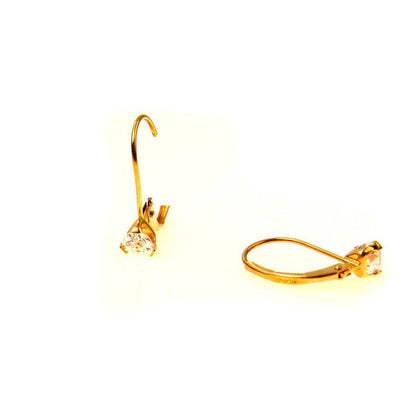 Trillion CZ Lever Back Earrings in 14k Gold Vintage, 1930s to 1980s