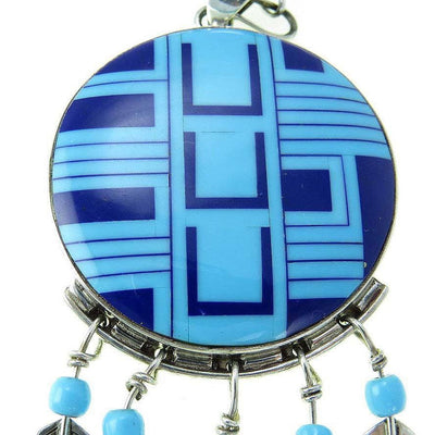 Turquoise Lapis Inlay Sterling Silver Southwestern Pendant Necklace Vintage, 1930s to 1980s