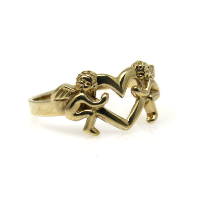 Two Cupids Holding an Open Heart Gold Ring PreAdored™