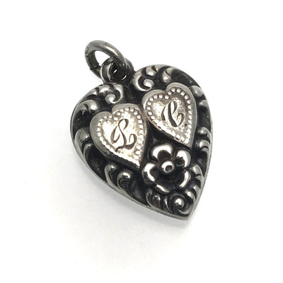 Two Hearts as One Victorian Puffy Heart Silver Charm Initials L C Victorian, 1830s to 1900s