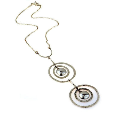 Ultra Mod Hammered Circles Modernist Sterling Necklace Vintage, 1930s to 1980s