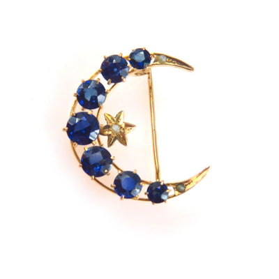 Victorian Crescent Moon & Star Pin | Gold Sapphire Seed Pearls Victorian, 1830s to 1900s