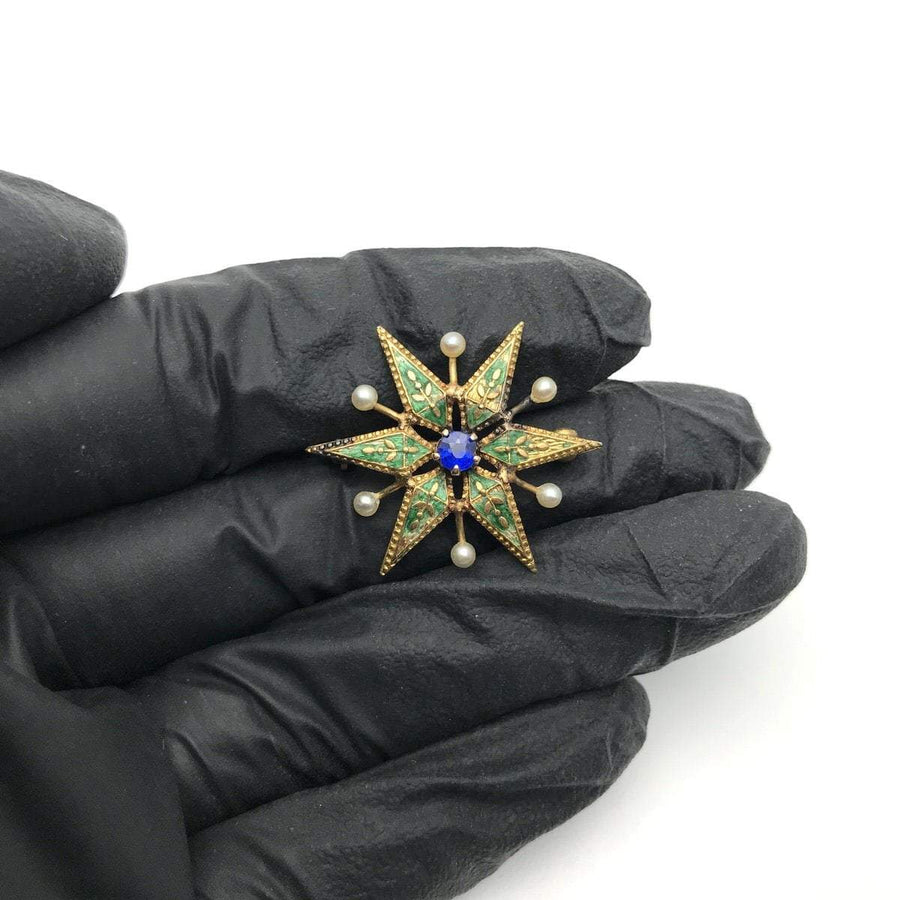 Victorian Enameled Star Sapphire Pearls Pin Brooch Victorian, 1830s to 1900s