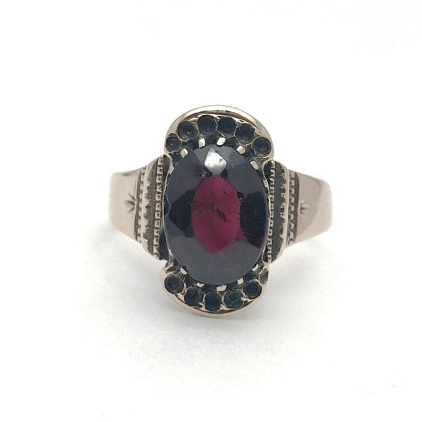 12b581124 Victorian Garnet Rose Gold Ring