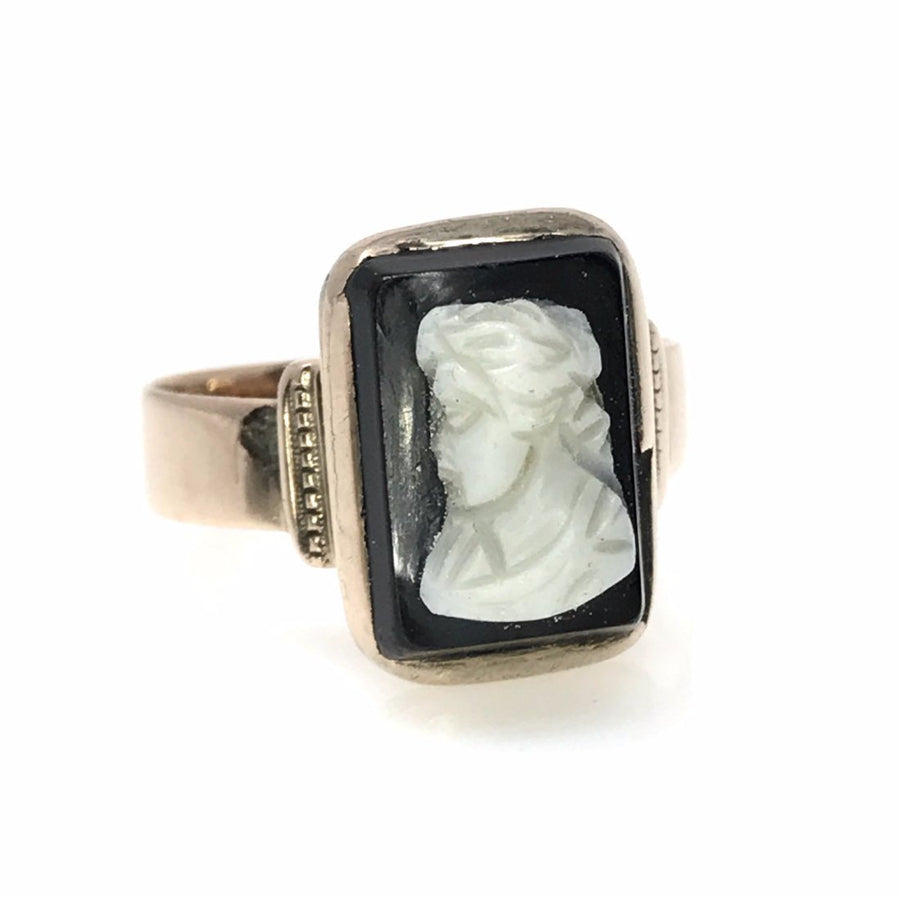 Victorian Hardstone Cameo Rose Gold Ring Victorian, 1830s to 1900s