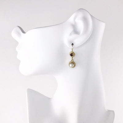 Victorian Inspired 14k Gold Pearl Garnet Drop Earrings Vintage, 1930s to 1980s
