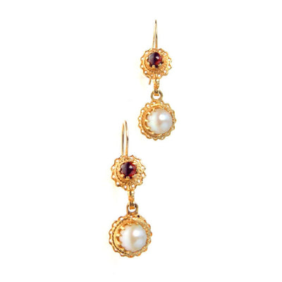 Victorian Inspired 14k Gold Pearl Garnet Drop Earrings